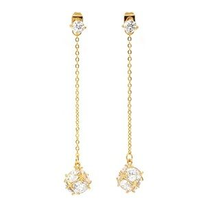 Gold Long section tassel crystal ball earrings